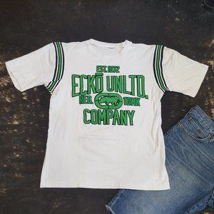 💥Vintage 90s ECKO White& Green Embrodery Tee💥